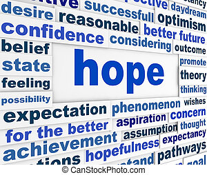 Hope word clouds poster. Optimism creative conceptual...