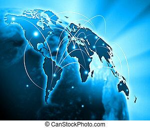 azul, imagem, globo