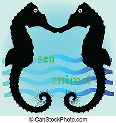 sea horse cartoon art vector illustration on a blue