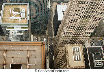 View of Chicago from the top of the Sears Tower, Illinois...