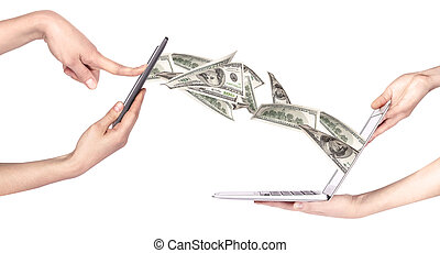 computer making money concept isolated on a white background