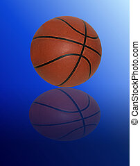 Basketball on gradient blue background with reflection
