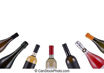 Wine bottles - assorted wine bottles on white background