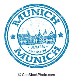 Munich stamp - Blue grunge rubber stamp with the name of...