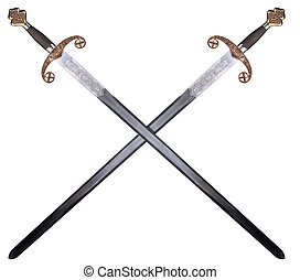 Medieval sword isolated on white background