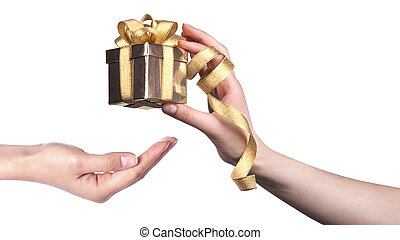 taking a gift concept isolated on a white background