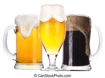 Frosty glass of light and dark beer set isolated on a white...