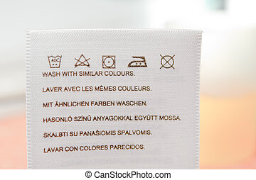 Laundry advice clothing tag - Clothes label with cleaning...