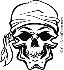 Pirate Skull Hand drawn Vector eps8 - Skallywag Pirate Skull...