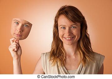 mujer, paliza, debajo, feliz, máscara,...