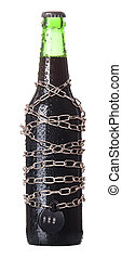 alcohol abuse concept - beer locked on a chain - alcohol...