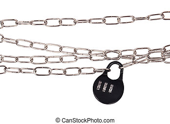 Combination Lock and Chain isolated - Combination Lock and...