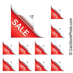 Discount corners. - Set of discount corners from 10 to 100...