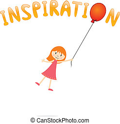 Inspiration - abstract concept with girl and balloon for...