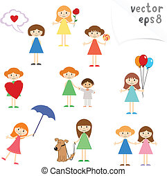 Little Girls - Vector collection of cartoon little girls