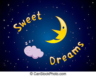Sweet Dreams - Vector illustration of cartoon crescent and...