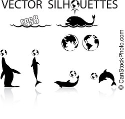 marine animals silhouettes - Vector set of marine animals...