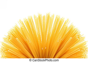 Fan of raw pasta spaghetti macaroni