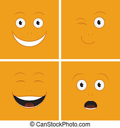 Funny Faces - Vector set of funny cartoon characters