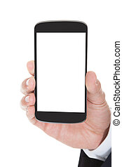 Close-up Of Hand Holding Cell Phone Over White Background