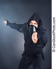 Portrait Of Male Ninja With Sword - Portrait Of Male Ninja...