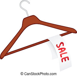 """Clothes hanger with """"sale"""" - Vector illustration of clothes..."""