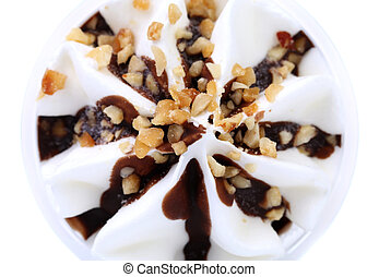 Ice cream with chocolate topic and nuts.