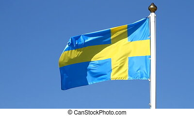 Flag of swedish on a background sky