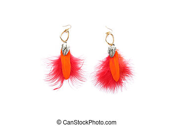 Pair of ladies earrings from orange feather Isolate on white...