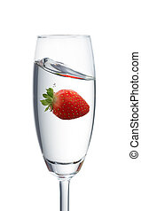 strawberry in a glass - strawberry dropping into a glass...