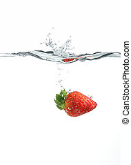 strawberry dropping into water created big splash