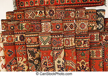 Turkish carpets - Set of exhibition carpets in a shop in...