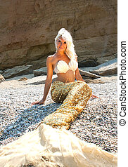Beautiful blonde mermaid - Beautiful mermaid sitting on the...