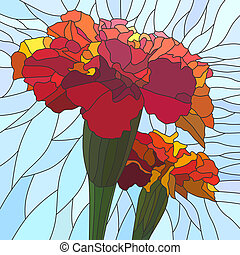 Illustration of flower red marigol. - Vector mosaic with...