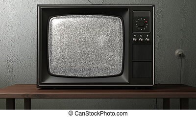 old TV. switching channels with a remote control. 3d...