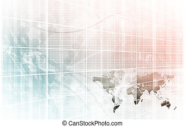 Business Technology Background with World Map Online