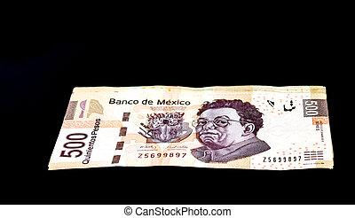 Mexican 500 Pesos - A stack of Mexican 500 pesos bills