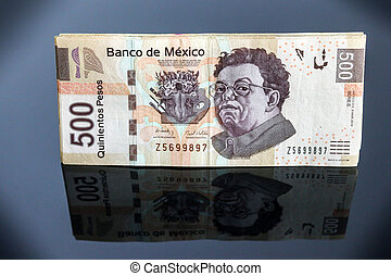 Mexican 500 Pesos - A stack of Mexican 500 pesos bills