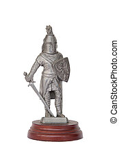 Metal knight statuette isolated