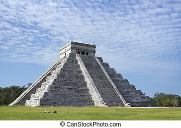mayan ruins at chichen itza, mexico - time-lapse of the...
