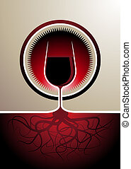 Red wine icon with the glass as the vine - Stylish red wine...