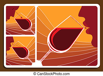 Wine tasting collage with three illustrations showing a man...
