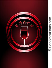 Icon for premier vintage wines with a wine glass full of red...