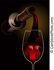 Drown your sorrows - pouring red wine - 3d dark atmospheric...