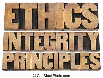 ethics, integrity and principles word abstract - isolated...