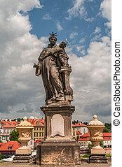 Statues of Saints at the Charles Bridge in Prague