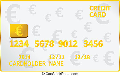 European Union Euro Credit Card Vector Illustration
