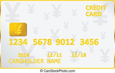 Japanese Yen Credit Card Vector Illustration