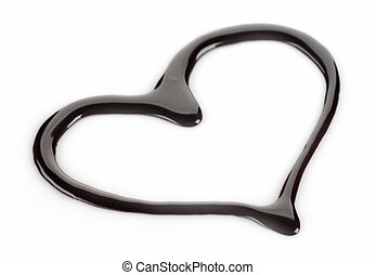 dark chocolate heart on a white background