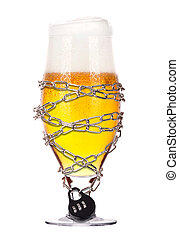alcoholism concept - beer locked on a chain - alcoholism...